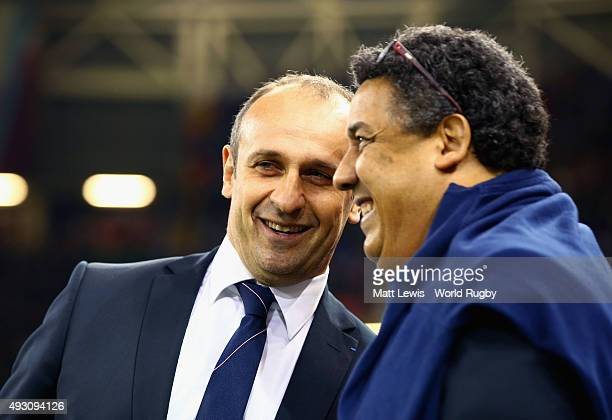 Philippe SaintAndre head coach of France before the 2015 Rugby World Cup Quarter Final match between New Zealand and France at the Millennium Stadium...