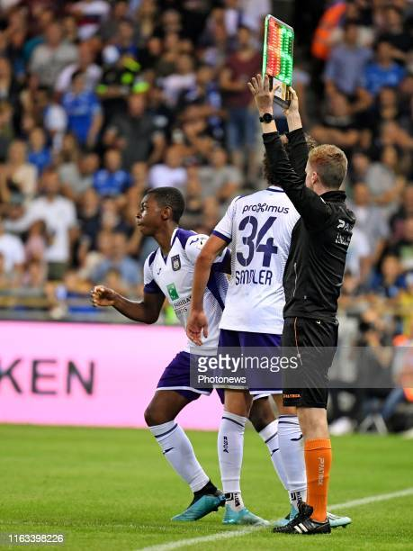 Philippe Sandler defender of Anderlecht and Marco Kana defender of Anderlecht during the Jupiler Pro League match between KRC Genk and RSC Anderlecht...
