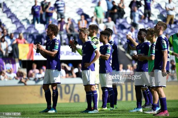 Philippe Sandler defender of Anderlecht and Pieter Gerkens midfielder of Anderlecht disappointed after loosing the game during the Jupiler Pro League...