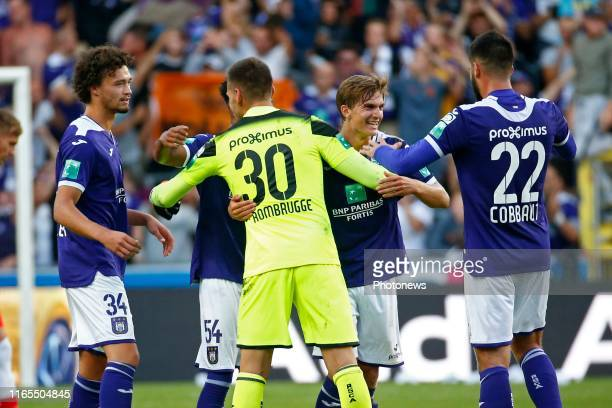 Philippe Sandler defender of Anderlecht and Sieben Dewaele midfielder of Anderlecht celebrates during the Jupiler Pro League match between RSC...