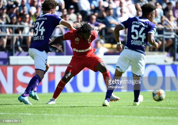 Philippe Sandler defender of Anderlecht & Dieudonne Mbokani Bezua forward of Antwerp during the Jupiler Pro League match between RSC Anderlecht and...