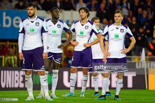 Philippe Sandler defender of Anderlecht looks dejected during the Jupiler Pro League match between Club Brugge and RSC Anderlecht on September 22,...