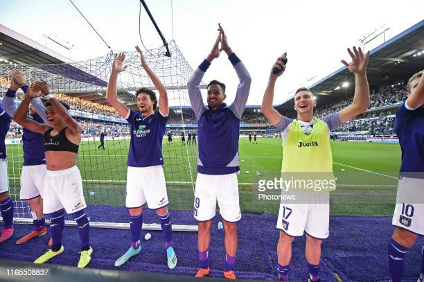 Philippe Sandler defender of Anderlecht, Nacer Chadli midfielder of Anderlecht, Luka Adzic midfielder of Anderlecht during the Jupiler Pro League...