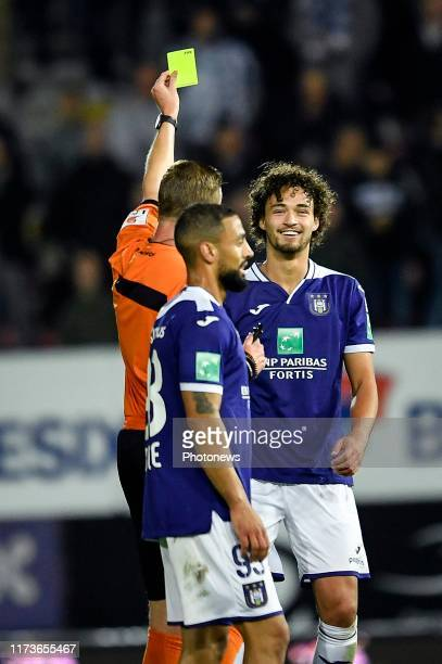 Philippe Sandler defender of Anderlecht receives a yellow card during the Jupiler Pro League match between Sporting Charleroi and RSC Anderlecht on...
