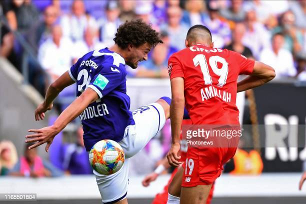 Philippe Sandler defender of Anderlecht, Selim Amallah midfielder of Standard Liege during the Jupiler Pro League match between RSC Anderlecht and...