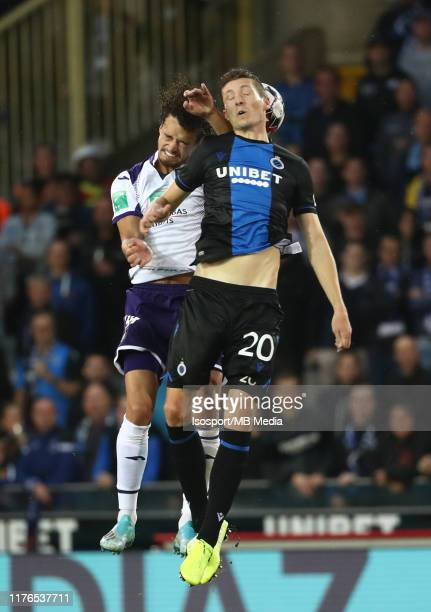 Philippe Sandler of Anderlecht battles for the ball with Hans Vanaken of Club Brugge during the Jupiler Pro League match between Club Brugge KV and...