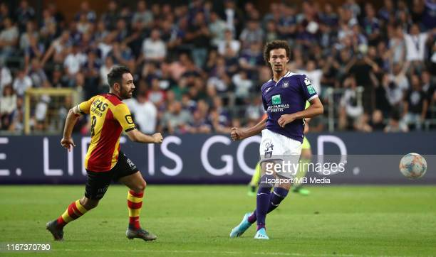 Philippe Sandler of Anderlecht battles for the ball with Onur Kaya of Kv Mechelen during the Jupiler Pro League match between RSC Anderlecht and KV...