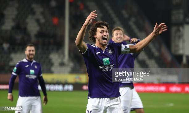 Philippe Sandler of Anderlecht celebrates after winning the Jupiler Pro League match between Sporting Charleroi and RSC Anderlecht at Stade du Pays...