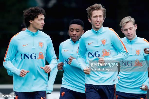 Philippe Sandler of Holland U21 Steven Bergwijn of Holland U21 Michel Vlap of Holland U21 Frenkie de Jong of Holland U21 during the Training Holland...