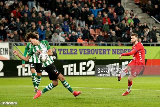 Philippe Sandler of PEC Zwolle Mateusz Klich of FC Utrecht during the Dutch Eredivisie match between FC Utrecht v PEC Zwolle at the Stadium...