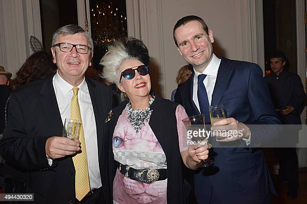 Philippe Savinel Orlan and Alexandre Ricard attend 'Le Bal Jaune 2015' Dinner Party At Hotel Salomon de Rothschild during FIAC on October 23 2015 in...