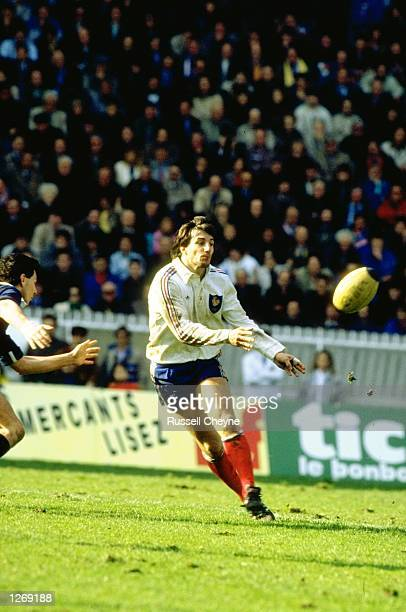Philippe Sella of France in action during a match against Scotland at Parc des Princes in Paris France won the match 193 Mandatory Credit Russell...