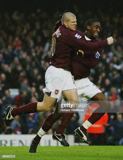 Philippe Senderos of Arsenal is congratulated by team mate Johan Djourou after scoring the second goal of the game during the Barclays Premiership...
