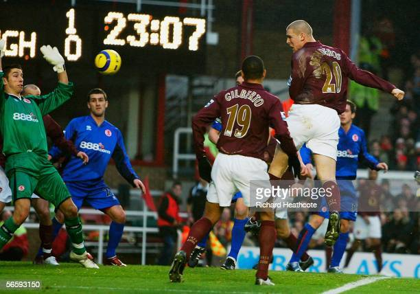 Philippe Senderos of Arsenal scores the second goal of the game during the Barclays Premiership match between Arsenal and Middlesbrough at Highbury...