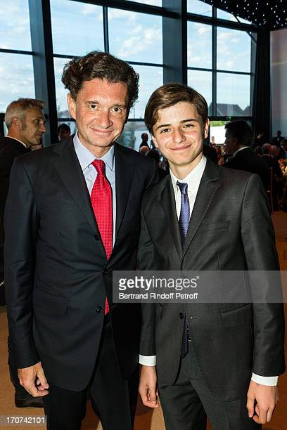 Philippe Seyres de Rothschild and his son Nathan attend the dinner of Conseil des Grand Crus Classes of 1855 hosted by Chateau Mouton Rothschild on...