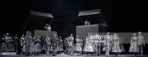 Philippe Sly as ClaudioSophie Karthauser as Hero Paul Appleby as Benedict and Stephanie d' Oustrac as Beatrice with artists of the company in...