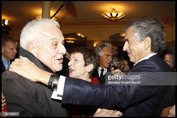 Philippe Sollers Bernard Henri Levy at The 20th Anniversary Of La Regle Du Jeu Celebrated At The Cafe De Flore In Paris