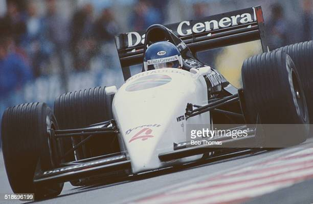 Philippe Streiff of France drives the Data General Team Tyrrell Tyrrell DG016 Cosworth V8 during practice for the Belgian Grand Prix on 17th May 1987...
