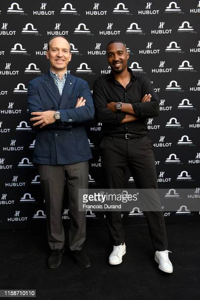 Philippe Tardivel and Abdoulaye Fadiga attend the launch of Hublot x Champion Spirit on June 27 2019 in Paris France
