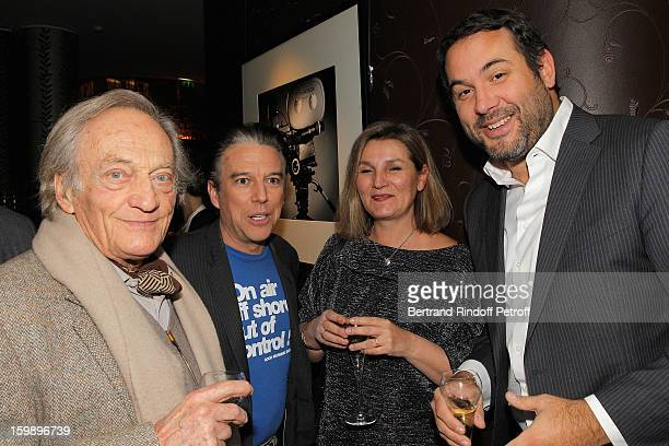 Philippe Tesson, Philippe Vandel, Bruce Toussaint's wife Catherine and Bruce Toussaint attend 'La Petite Maison De Nicole' Inauguration Cocktail at...