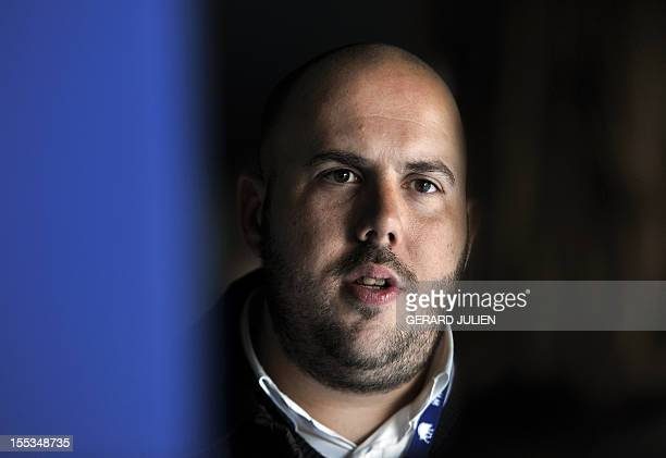 Philippe Vardon, president of the Identitaire association and president of Nissa Rebela is pictured while taking part in a French far-right...