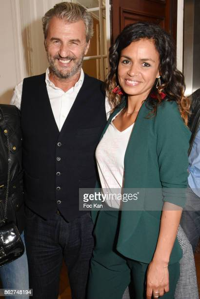 Philippe Vignola and TV presenter Laurence Roustandjee attend the 'Love EtcÉ' Caroline Faindt Exhibition Preview at '28 Octobre Office' on October 17...