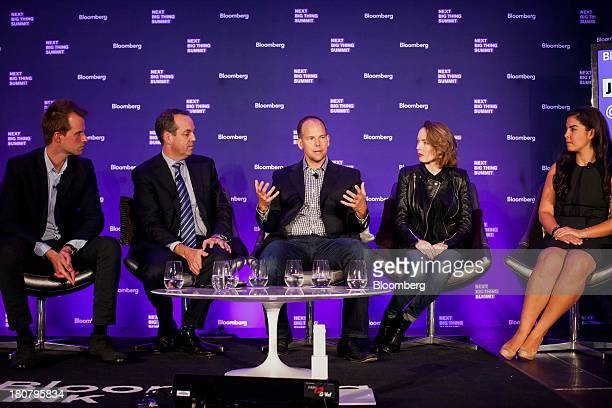 Philippe von Borries left cofounder and chief executive officer of Refinery29 Inc from left Paul Caine chief executive officer at WestwoodOne Mark...