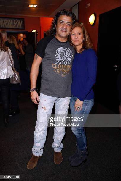 Philippe'Fifi' Chayeb and Anne Gravoin celebrate the new year with Laurent Gerra during 'Laurent Gerra Sans Moderation at L'Olympia on December 31...