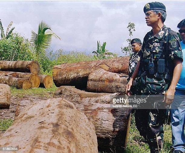 Philippine Army Lieutenant Colonel Felizardo Hernandez commander of the 64th Infantry Battalion, inspects illegaly cut logs in the town of Matanog,...