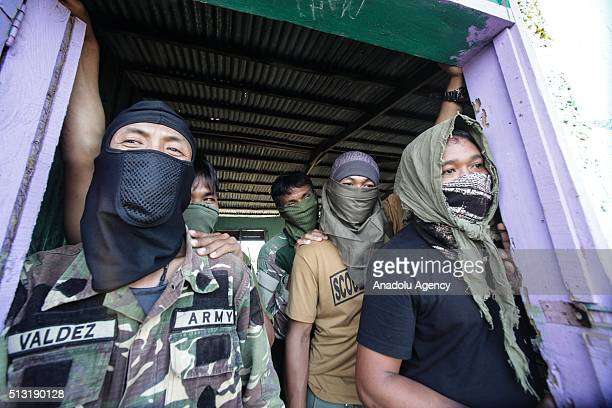 Philippine army soldiers stage an counterterrorism operation against Maute terrorists allegedly supports and linked with Daesh in Butig town of Lanao...