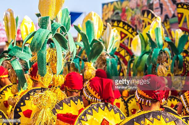 philippine festival group lined up - manila philippines stock pictures, royalty-free photos & images