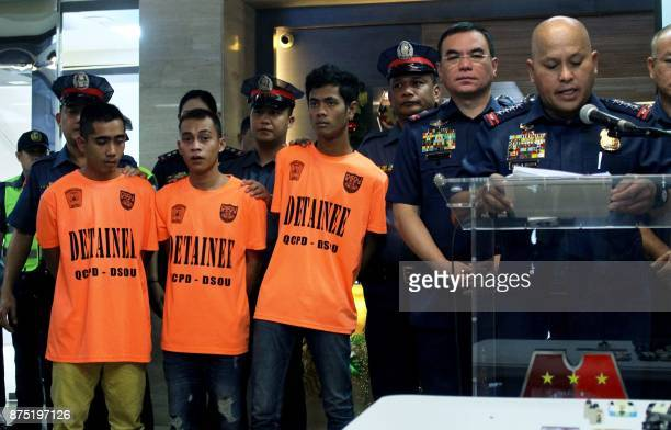 Philippine National Police director general Ronald Dela Rosa speaks during a press conference at the PNP headquarters in Manila on November 17 as...