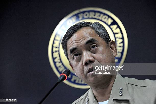 Philippine Navy Vice Admiral Alexander Pama gives a statement during a press conference at the Department of Foreign Affairs in Manila on April 11...