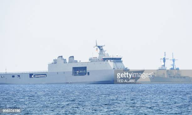 Philippine navy's Davao del Sur and frigate Alcaraz pariticipate in the amphibious landing as part of the annual Philippines and US joint military...