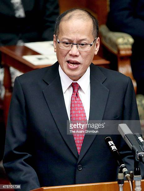 Philippine President Benigno Aquino addresses at the upper house of the diet on June 3 2015 in Tokyo Japan Aquino is on fourday tour to Japan