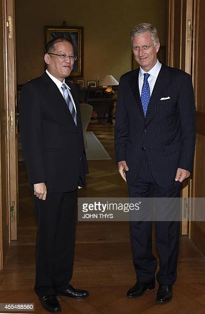 Philippine President Benigno Aquino has an audience with King Philippe at the Royal Palace in Brussels on September 15 , 2014. AFP PHOTO /JOHN THYS