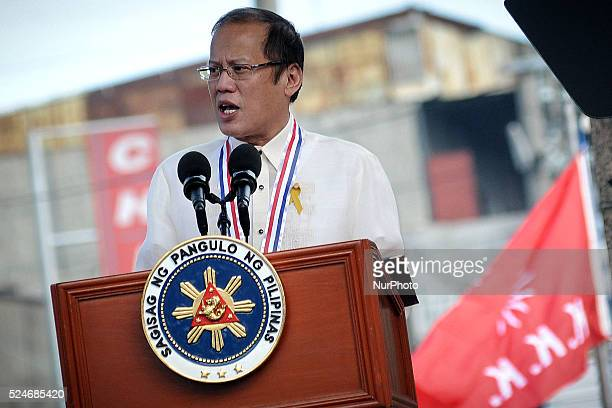 Philippine President Benigno Aquino III delivers his speech during a ceremony marking Filipino nationalist Andres Bonifacio's 150th birth anniversary...