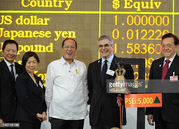 Philippine President Benigno Aquino poses with business tycoon Jaime Augusto Zobel de Ayala President of Philippine stoch exchange Jose Pardo and...