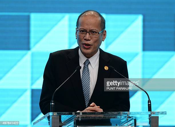 Philippine President Benigno Aquino speaks at a closing press conference for the Asia-Pacific Economic Cooperation Summit at the International Media...