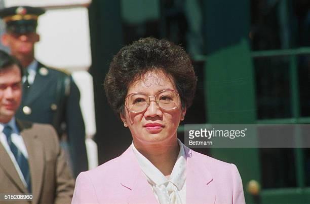 Philippine president Corazon Aquino attends a 1986 address on the White House South Lawn. Aquino, a housewife and widow of the murdered politician...