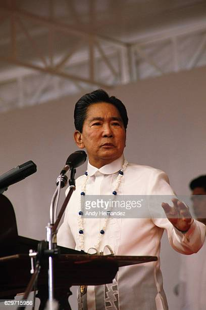 Philippine President Ferdinand Marcos speaks during a military parade