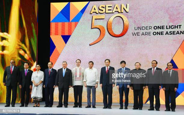 Philippine President Rodrigo Duterte and foreign ministers of the Association of Southeast Asian Nations attend a ceremony celebrating the 50th...
