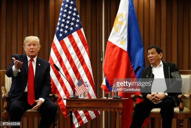 Philippine President Rodrigo Duterte and US President Donald Trump hold a bilateral meeting on the sidelines of the 31st Association of Southeast...