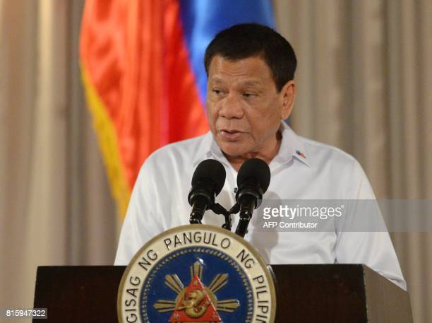 Philippine President Rodrigo Duterte delivers a speech during a ceremony for a proposed draft of the Bangsamoro Basic Law at the Malacanang Palace in...
