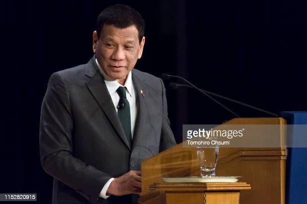 Philippine President Rodrigo Duterte delivers a speech during the 25th International Conference on The Future of Asia on May 31, 2019 in Tokyo,...