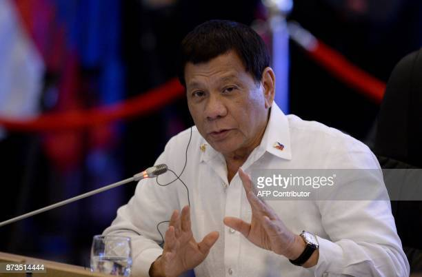 Philippine President Rodrigo Duterte delivers a statement during the 19th Association of Southeast Asian Nations South Korea Summit on the sidelines...