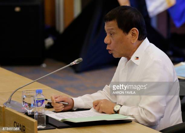 Philippine President Rodrigo Duterte delivers his opening speech during the ASEANUS 40th Anniversary Commemorative Summit on the sideline of the 31st...
