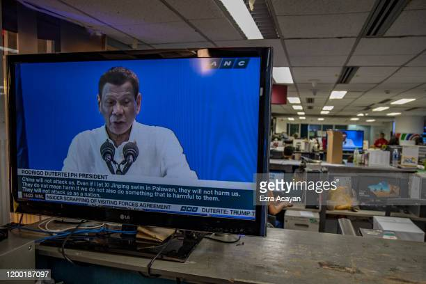 Philippine President Rodrigo Duterte is seen on a monitor in the newsroom of ABS-CBN News on February 11, 2020 in Quezon City, Metro Manila,...