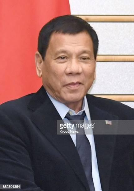 Philippine President Rodrigo Duterte seen in this file photo on Oct 17 2017 declared Marawi 'liberated from the terrorist influence' of Islamic...