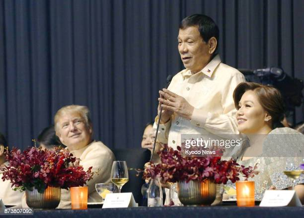 Philippine President Rodrigo Duterte sings a song at a dinner reception related to a series of summits of the Association of Southeast Asian Nations...